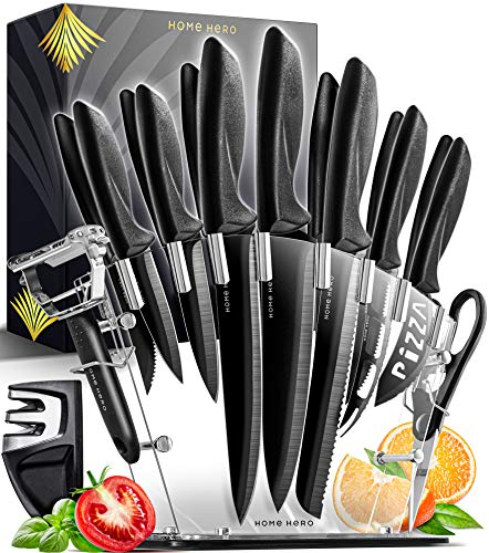 Home Hero 17 Pieces Kitchen Knives Set, 13 Stainless Steel Knives + Acrylic Stand, Scissors, Peeler and Knife Sharpener