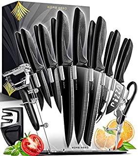 Home Hero 17 Pieces Kitchen Knives Set, 13 Stainless Steel Knives + Acrylic Stand, Scissors, Peeler and Knife Sharpener (B075MD55N1) | Amazon price tracker / tracking, Amazon price history charts, Amazon price watches, Amazon price drop alerts
