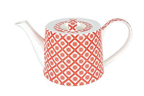 MamboCat Jameson & Tailor Teekanne BLÜMCHEN rot, 1,25 L, Kanne Brillantporzellan, Kunstdekor, Blumen-Dekor rot + Gratis Teeprobe