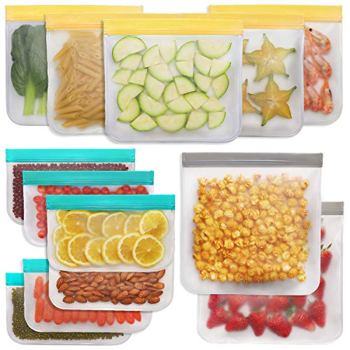 Jagrom Reusable Storage Bags (13 Pack) 2 Gallon & 5 Sandwich Lunch Bags & 6 Small Kids Snack Bags...