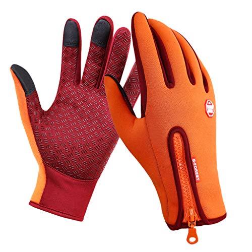 Hellery Guantes de Invierno Guantes de Ciclismo Al Aire Libre Guantes de Dedo Completo Guantes de Conducción de Pantalla - Rojo + naranja, S