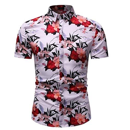 SGJKG Herren Sommerhemd Atmungsaktiver Mann Lässig Slim Fit Blumendruck Hemden Herren Kurzarm Blume Strandhemd Tops-XXXL
