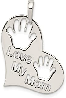 925 Sterling Silver Love My Mom Heart Pendant Charm Necklace Fine Jewelry For Women