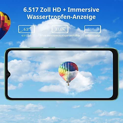 Blackview A70 (E) Smartphone ohne Vertrag Android 11, 6.517 Zoll HD mit 5.380mAh Batterie, 3GB RAM+32GB Speicher Octa-core, 13MP+5MP Kamera, Fingerabdruck Sensor, 4G Handy Dual SIM Grün - 5