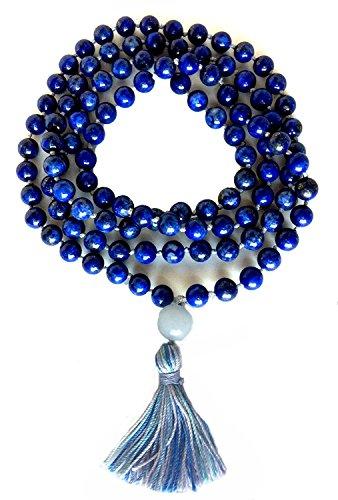 Mala de lapis lázuli mano de nudos 108Oración Bead Mala