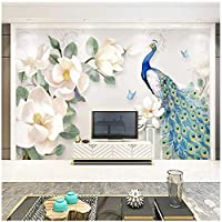 3D壁壁画 カスタム壁画 花孔雀 リビングルームテレビソファ背景防水ステッカ-150x130cm/59x51inch