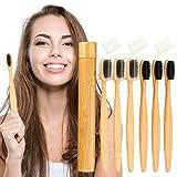 UNEEDE Cepillo Dientes Bambu,paquete de 6 juegos de cepillos cepillo dientes dientes de cerdas de carbón de bambú suave original Juego de cepillos de dientes manuales para el hogar y los viajes