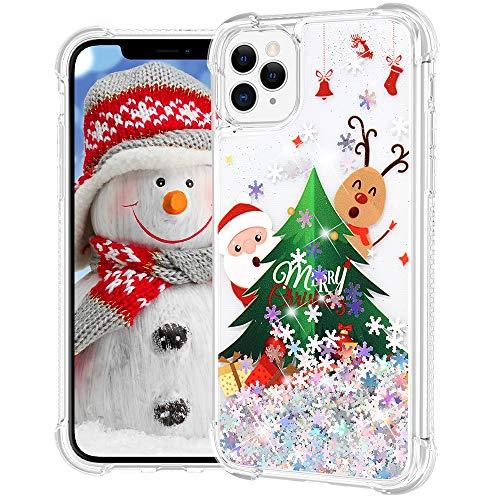 Ruky iPhone 11 Pro Max Christmas Case, Glitter Liquid Flowing Bling Sparkle Merry Christmas Design Soft TPU Bumper Shockproof Girls Women Children Christmas Case for iPhone 11 Pro Max, Christmas Tree