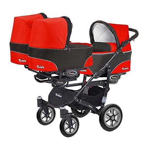Kinderwagen für Drillinge 3 Gondeln 3 Sportsitze Trippy Kinderwagen 2in1 schwarzer Rahmen (schwarz rot 03)
