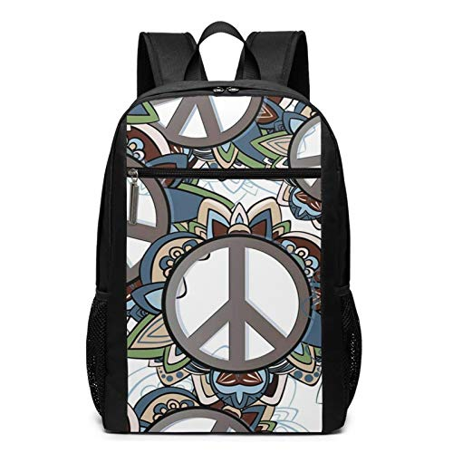 Sac à Dos Décontracté Scolaire Cartable Sacs école pour Garçons Filles Homme Femme Sac De Camping Voyage Laptop Backpack Signe de la Guerre de la Paix Anti-Guerre