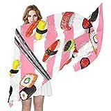QMIN - Bufanda de seda japonesa para comida de sushi, diseño de rayas, larga, ligera, para mujer, chal