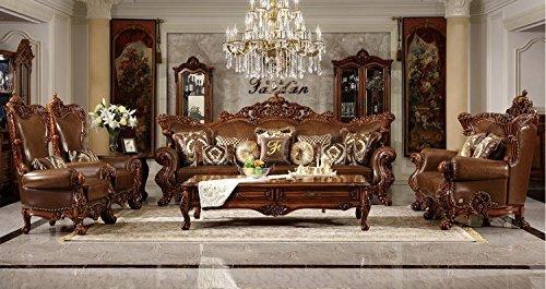 Ma Xiaoying Traditionelle Kollektion Wohnzimmermöbel-Set aus echtem Leder, Sofa, Zweisitzer, 2 Stühle und 2 Tische, Dunkelbraun