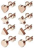 JOERICA 4 Pairs Heart Stainless Steel Stud Earrings for Women Girls Star Earrings Rose-gold