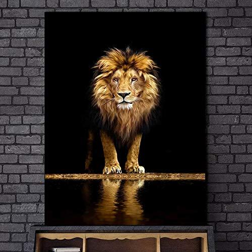 Animales León en la oscuridad lienzo arte carteles e impresiones arte de la pared cuadros decorativos León africano lienzo pintura decoración de la pared del hogar 40x50cm