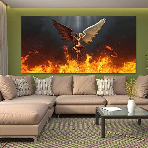 wZUN Diablo y Ángel Amor Negro Blanco Pluma alas de Ángel Lienzo Pintura Mural HD impresión Carteles imágenes decoración del hogar 60x120 Sin Marco