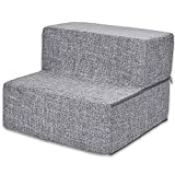 Best Pet Supplies Foldable Pet Steps/Stairs with CertiPUR-US Certified Foam Ash Gray Linen, 2-Steps (H: 12')