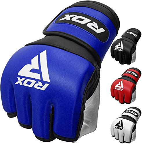 RDX MMA Handschuhe für Kampfsport Training | Sino Skin Leder Kickboxen Grappling Gloves | Punchinghandschuh für Sparring, Muay Thai, Freefight, Boxsack, Sandsack (MEHRWEG)