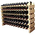 Stackable Modular Wine Rack Stackable Storage Stand Display Shelves, Wobble-Free, THICKER wood, Wobble-Free, (72 Bottle Capacity, 6 rows x 12)