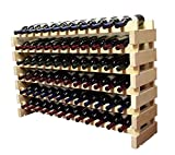 Stackable Modular Wine Rack Stackable Storage Stand Display Shelves, Wobble-Free, Pine wood, (Natural, 12 X 6 Rows (72 Slots)