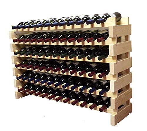 Stackable Modular Wine Rack Storage Stand Wooden Wine Holder Display Shelves Thick Wood Natural 12 X 6 Rows 72 Slots