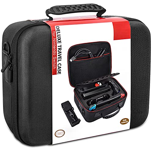 Switch Carrying Case for Nintendo, COOWPS Hard Shell Protective Portable Switch Travel Storage Case Compatible with Nintendo Switch/Switch OLED Model(2021) & Accessories, Black