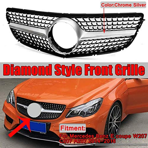 XIANGSHAN Chrome W207 C207 A207 Diamond Grill Autofrontstoßstange Grill Grill for Mercedes for Benz E for Coupe W207 C207 A207 2014-2016