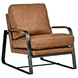 Amazon Brand – Rivet Summit Mid-Century Modern Leather Accent Chair with Steel Arms, 27'W, Cognac Brown