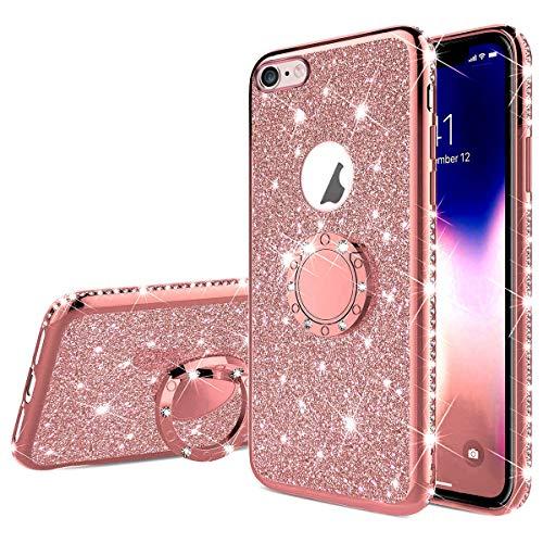 Surakey Cover Compatibile con iPhone 6 Plus/6S Plus Brillante Glitter Silicone Custodia con Anello Supporto Strass Bling Case Bordo Placcato Diamante Gomma Morbida Sottile Protettiva Cover,Oro Rosa