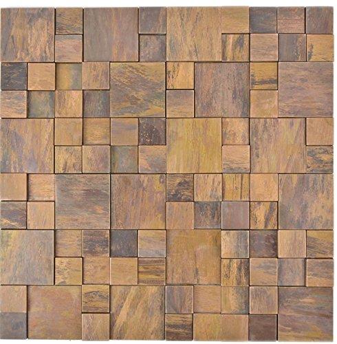 Mosaik Fliese Kupfer kupfer Kombination 3D braun für WAND THEKENVERKLEIDUNG Mosaikmatte Mosaikplatte