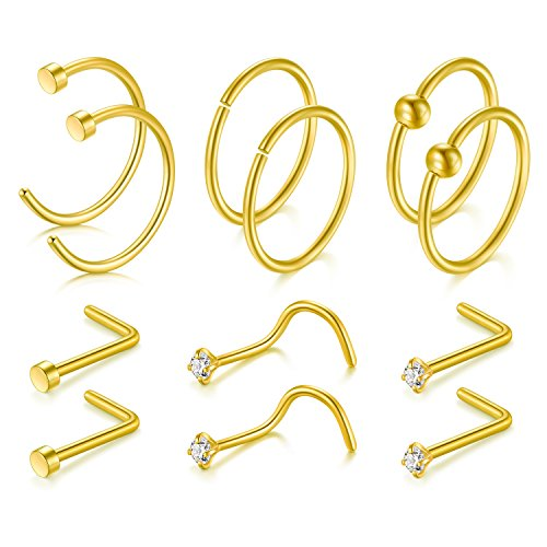 JFORYOU 12Pcs Gold Nose Ring Nose studs Set 20G 316L Surgical Steel Nose Ring Nose Stud Nose Hoop