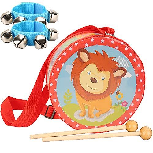 liuer Tambor Infantil Instrumentos Musicales con Baquetas y Pulsera de Cascabeles Dibujos Animados Patrón Tambores Juguetes Tambor Infantil Niño Niña(15×7cm)