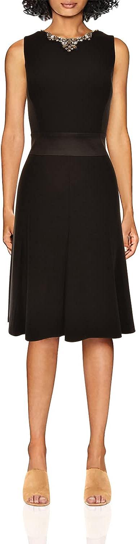 RALPH LAUREN Lauren Women's Crystals Neck Fit & Flare Dress (Black)