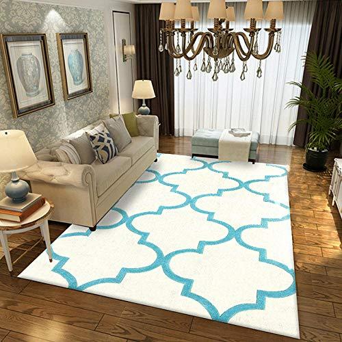 Geometrische moderne tapijt voor woonkamer Slaapkamer Slaapbank Koffie Studie Anti-Slip Tapijten Showcase tapijten Huishoudelijke tapijt 160cmX230cm Blauw en wit