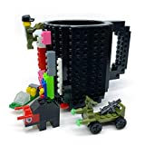 Build-on Brick Mug with 3 Packs of blocks, Carfard Christmas Gift Novelty Creative 12 oz Coffee Cups Funny Tea Mug Beverage Pen Cup(Black)
