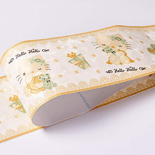 Borde del papel pintado Habitación infantil gato amarillo Adhesivo del Papel Pintado del PVC Cenefa autoadhesiva para decoración de pared de cocina10x500cm