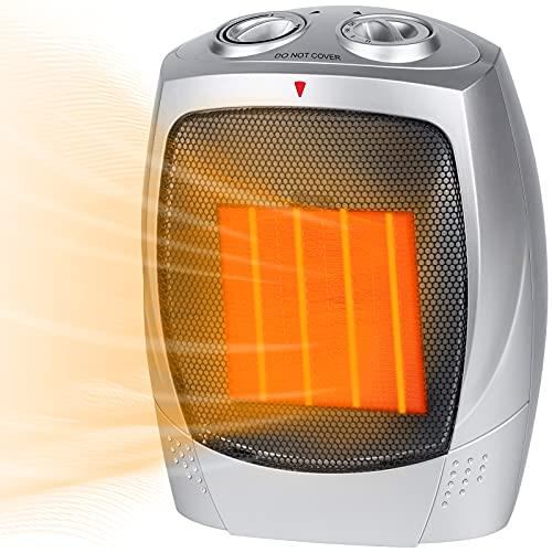 Ceramic Space Heater, 750W/1500W Portable Electric Heater with Adjustable Thermostat, Normal Fan and Safety Tip Over Switch for Bedroom Office Desk Indoor Use