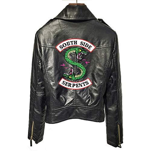 AFTER YOU GO Chaqueta Riverdale Chaqueta de Serpiente para niñas Chaqueta de Cuero Negra Chaqueta Motera