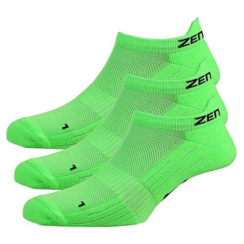 Zen Core grüne Sneaker Füßlinge 3, 6, 12 Paare, Größe 40-43 und 44-47 für Herren, kurze Socken, Sport&Freizeit, Laufsocken, Fitness, Fahrradfahren, Running Socken, Atmungsaktiv, Antiblasen
