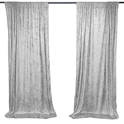 AK TRADING CO. 10 feet x 10 feet Lush Velvet Backdrop Drapes Curtains Panels with Rod Pockets - Wedding Ceremony Party Home Window Decorations - Silver