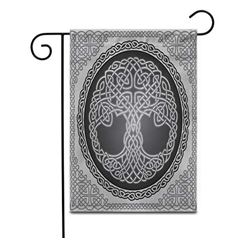 Awowee 28'x40' Garden Flag Knot Round Celtic Tree of Life Border Black White Outdoor Home Decor Double Sided Yard Flags Banner for Patio Lawn