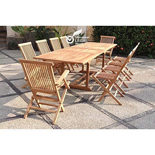 JFB Le Lombok Mix : Salon en Teck Massif Brut 12/14 Personnes, Comprenant 1 Table rectangulaire 8 chaises et 2 fauteuils