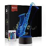 Hexie magia Saxofón lámpara 3d Illusion 7 colores Touch interruptor USB de LED de luz Decoración