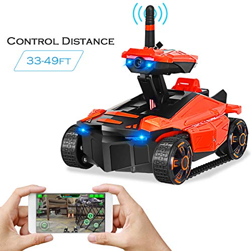 Image of Costzon Rechargeable RC Tank CarMini WiFi Spy Rover Tank, App-Controlled Car Video Recorder Support, Gift for Boys Girls Teens and Children (Orange)