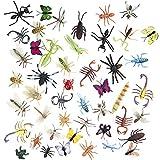 50 Figuras de Insectos Bichos de Plástico Juguetes para Niños| No Tóxico, Formas y Tamaños...