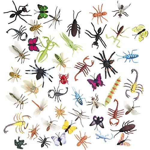 50 Figuras de Insectos Bichos de Plástico Juguetes Educativo para Niños -  No Tóxico,  Formas y Tamaños Realista.