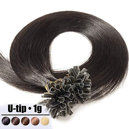Extension Capelli Veri Cheratina Ciocche 1 Grammo/Ciocca Pre Bonded U Tip Allungamento 100% Remy Human Hair - 40cm 50g #1B Nero Naturale