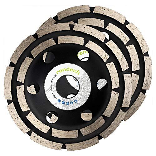 2x Rendech® Diamant-Schleiftopf 125 mm zum schleifen von Beton, Stein, Mauerwerk uvm. Schleifscheibe perfekt zum Fliesenkleber entfernen (2er Pack)