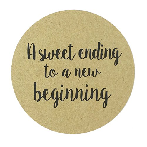 "80-2"" Kraft a Sweet Ending to a New Beginning Stickers, Wedding Favor Sticker Labels"