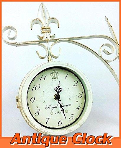 Noble Iron Bothside Clock 【Sサイズ】 両面時計/アンティークホワイト・壁掛け時計【アンティーク調】かわいい雑貨 ナチュラル ガーデン カントリー