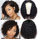 Curly Bob Human Hair Wig 4x4 Lace Front Wig Naturelle Brésilien Perruque de Cheveux Humains Court Bob Pour Femmes Noires Perruque Femme 150% Densité Pre Plucked Délié Naturel 8pouces
